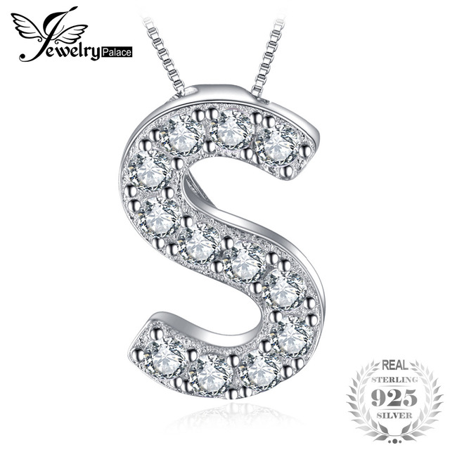 Jewelrypalace letter s initial 03ct cubic zirconia pendant real jewelrypalace letter s initial 03ct cubic zirconia pendant real 925 sterling silver sister aloadofball Choice Image