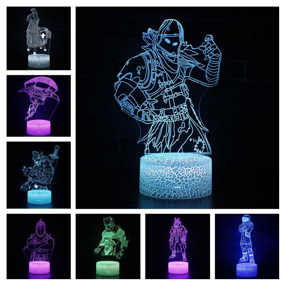 Fortress night Sleep Light 3d illusion Projection Lamp Battle Royale Raven Black Knight Figure Night Light Kids Luminous Toys