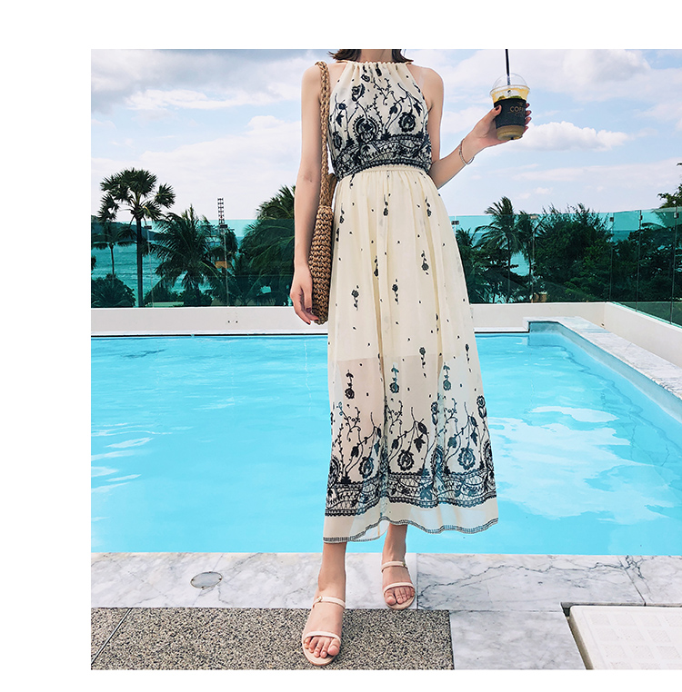 700e01163b9 Japanese Women s Maxi Dresses Summer Floral Bohemian Suspenders Chiffon  Dress Flowy Beach Party Strap Boho Long Dresses -in Dresses from Women s  Clothing on ...