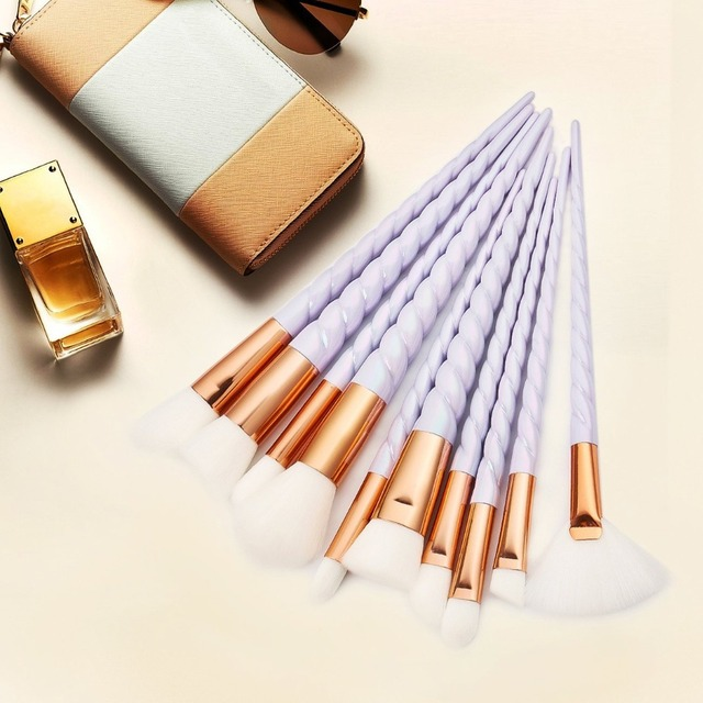 Unicorn Thread Makeup Brushes Professional Make Up Brushes Fiber Brush Set Makeup Tools Eyebrow Eyeliner Powder Brushes 5