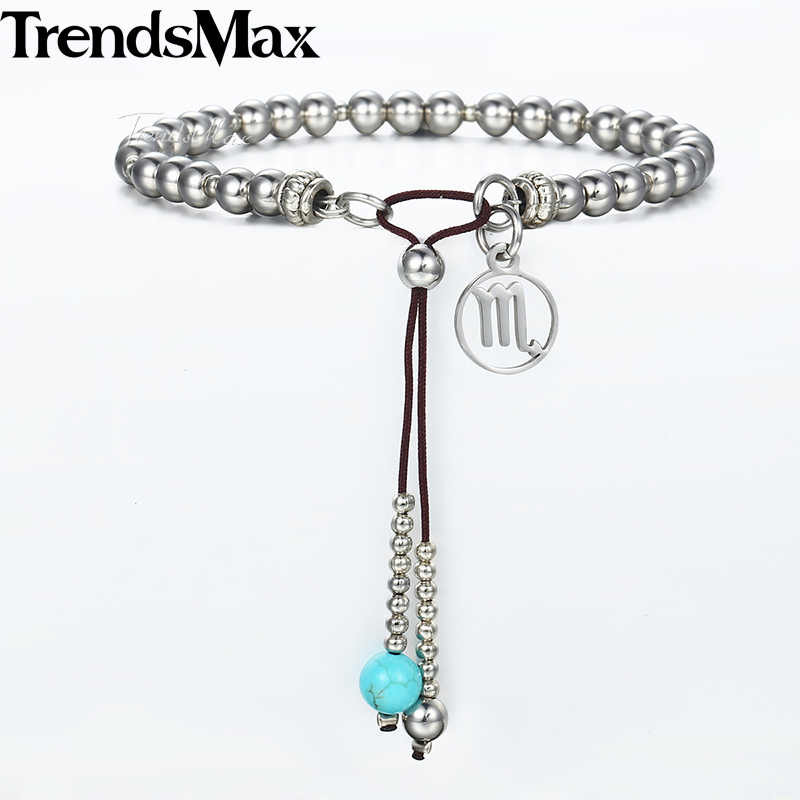 Silver Stainless Steel Beads Bracelet for Women 12 Zodiac Constellations Charm Woman Bracelets 2018 Fashion Jewelry Gift DB63