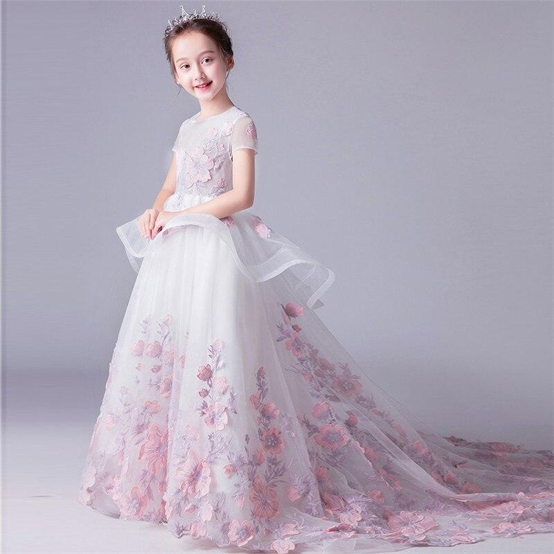 2018 детское платье принцессы с длинным шлейфом и цветами; Королевское Платье русалки; бальное платье для причастия; платье для дня рождения; длинное платье для свадебной вечеринки
