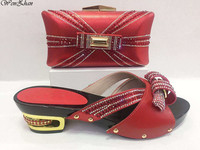 Newest Italian Style Soft Woman Shoes And Bags Set 2018Shoes With Matching Bag Set Lady Dress Party Shoes Red Slippers C85 11