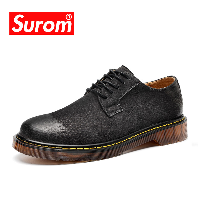 цены на SUROM Men's Classic Genuine Leather Shoes Martin Boots Men Fashion Round Toe Lace up Casual shoes Solid Non slip Outdoor Oxfords в интернет-магазинах