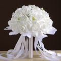 Hot Sale Bruidsboeket Long Ribbon Crystal Beads Red And White Wedding Bouquets Bridesmaid Flower Bouquet