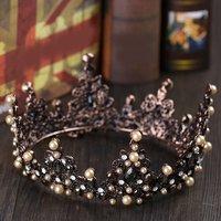 Retro Vintage Wedding Party Crown Queen Headband Big Crown Bride Bridal Hair Accessories Head Hair Style Jewelry Performance