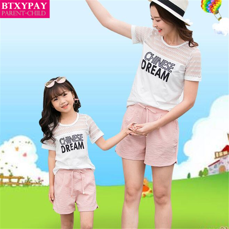 100p Summer Mother&Daughter Parent-child Sets Kids Girl's T-Shirt&Shorts Family Matching Outfits Women Thin Short Sleeves&Shorts