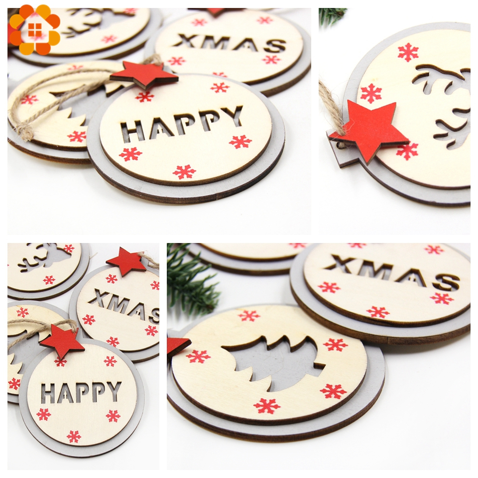 1PC Natural Merry Christmas Ball Wooden Pendant Ornaments DIY Wood Crafts Home Christmas Party Xmas Tree Ornaments Decorations in Pendant Drop Ornaments from Home Garden