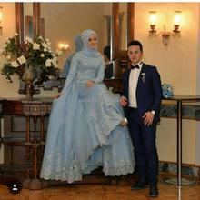 Hijab Blue Lace Long Sleeved Evening Dresses Lebanon 2017 Long Formal Dress Robe Dubai Arabe Kaftan Abito Da Sera