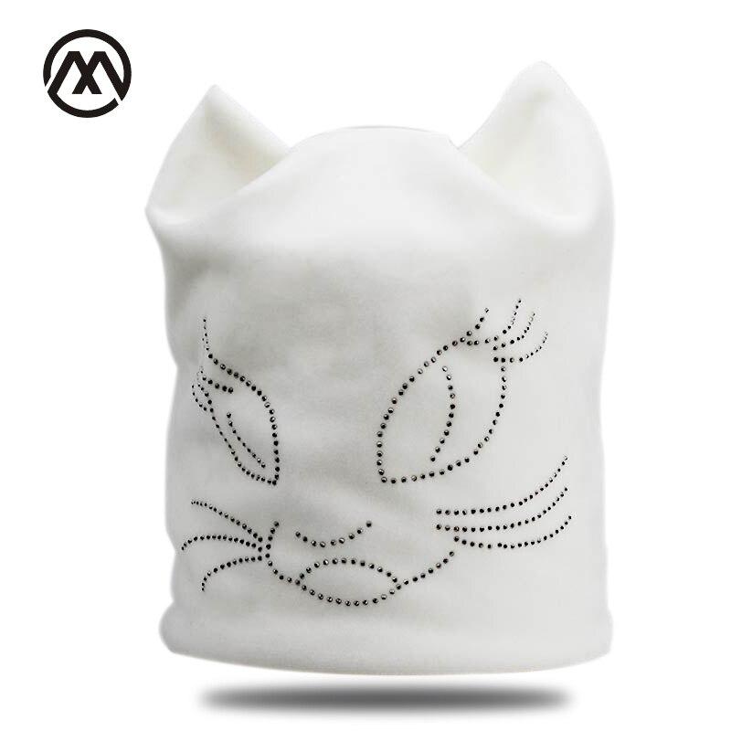 Winter Beanie Hats For Women Diamond Cat Velvet Gorros For Girls Warm Fluff Beanies Cap With Ears Toucas Feminina Inverno bone