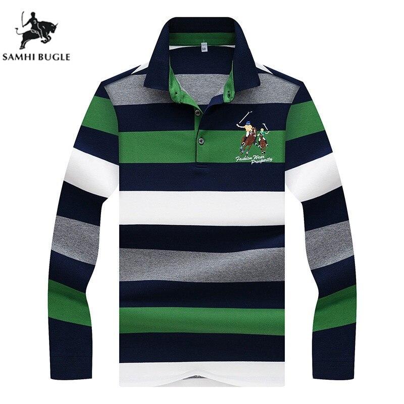 Business Office Embroidery Poloshirt Men Cotton Striped Lapel Mens   Polos   Casual Long Sleeve   Polo   Shirt Men