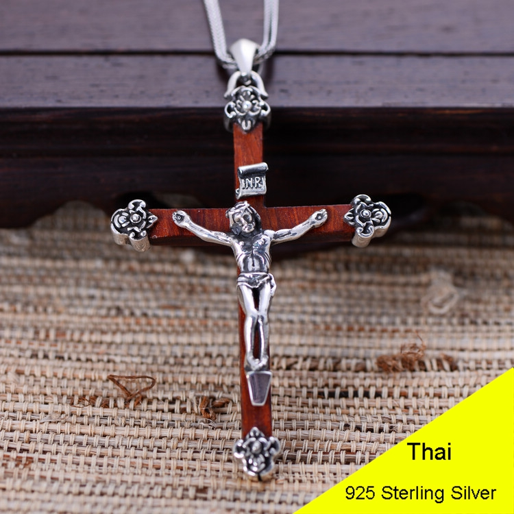 925 Sterling Silver Retro Jesus Wood Cross Crucifix Necklace Pendant Men Thai Silver Fine Jewelry Gift CH024339 925 sterling silver retro garnet vajry pestle necklace pendant men thai silver fine jewelry gift ch021420