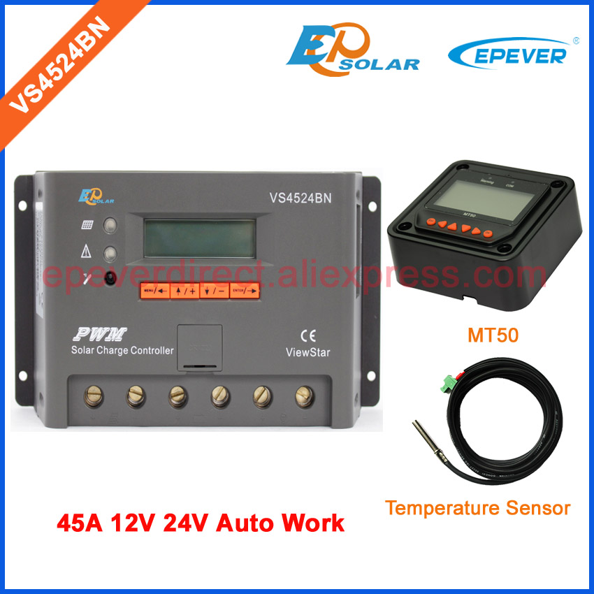 Regulator 45A 24V Work solar panels system VS4524BN 45amp Temperature sensor and MT50 remote meter PWM EPEVER product vs4524bn 45a pwm controller network access computer control can connect with mt50 for communication