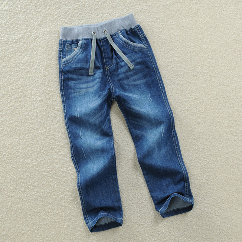 New 2017 Spring Autumn Kid Boys Jeans Pants Fashion Kids Solid Loose Mid Elastic Waist Blue Pants Casual Cotton Boy Trousers Hot