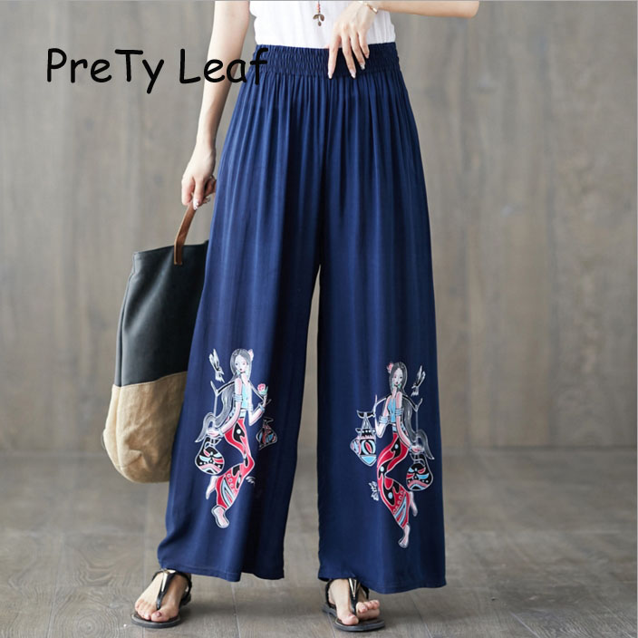 2019 ethnic style cotton silk printed loose   wide     leg     pants