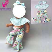 "doll clothes set for 43cm born bebe doll outfit clothes long pants for 18"" girl born baby doll clothes pants(China)"