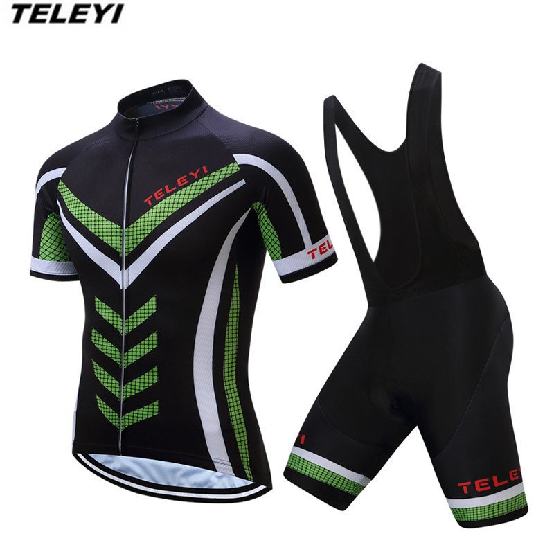 2017 TELEYI Green Pro Cycling jersey Set Men Bike clothing clothes Ropa Ciclismo MTB bicycle jersey Top Bib Padded Shorts male