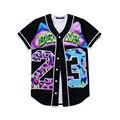 MTS130 Мужские Кнопки Homme 3D Рубашка Уличной Тройники Рубашки Хип-хоп Bel Air 23-Принц На Заказ Бейсбол джерси