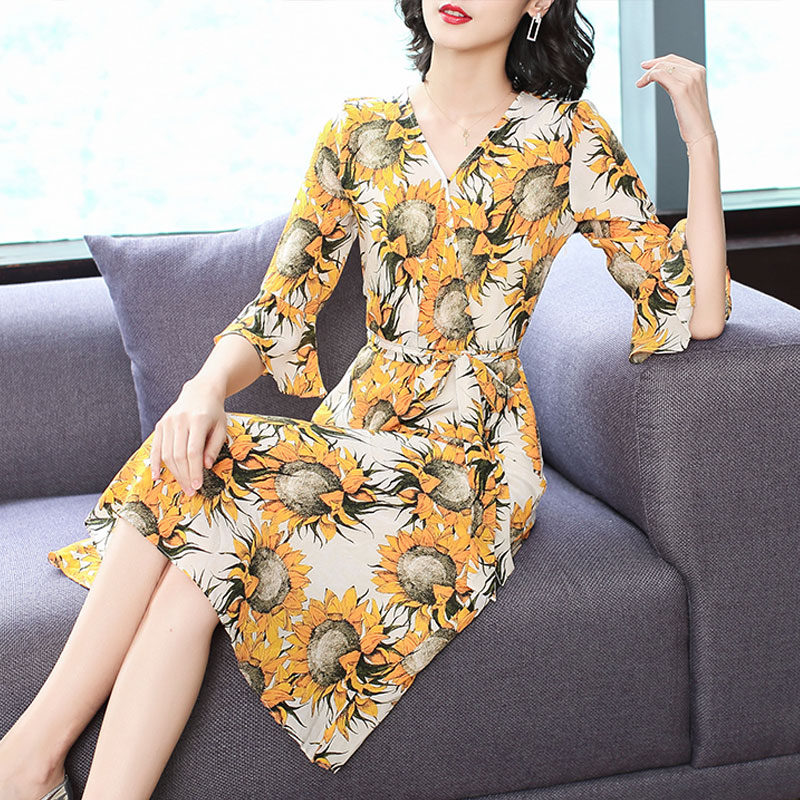 Chinese Yellow plus size summer mulberry silk dress 2019 women print floral elegant runway bodycon slim flare sleeve mid clothes