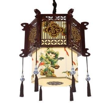 Cina kayu solid liontin lampu ruang tamu restoran led lampu koridor restoran warung teh retro liontin pencahayaan ZA825506