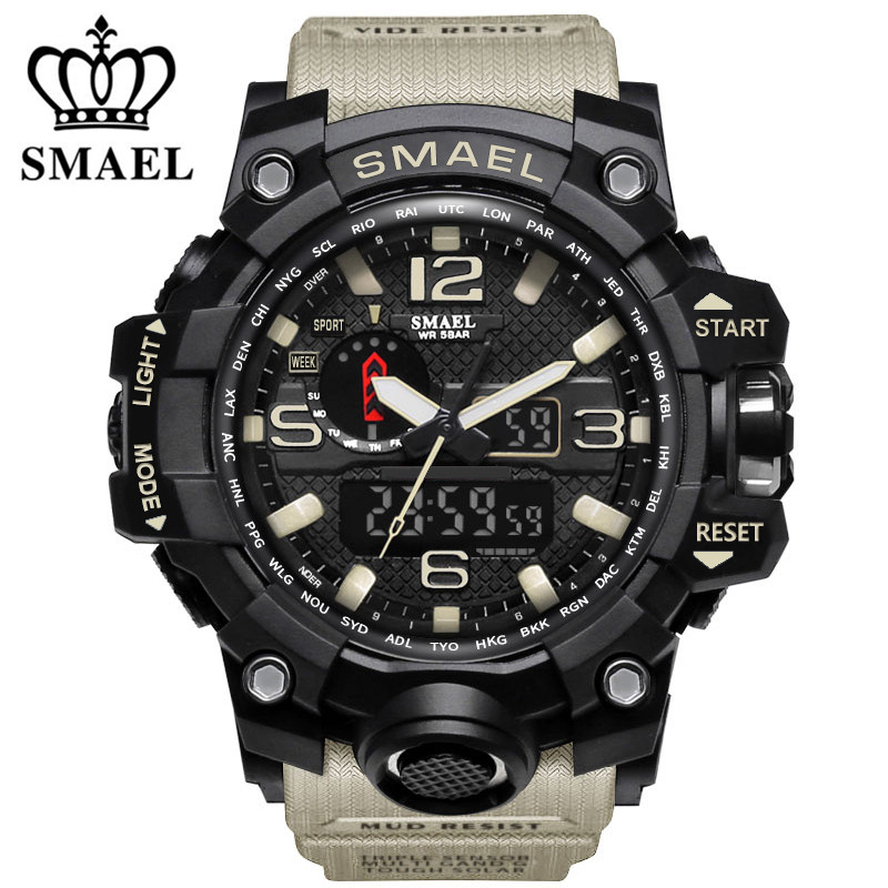 SMAEL Brand Waterproof Fashion Watch Men Sport Analog Quartz Watch Dual Display LED Digital Electronic Watches