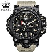 Smael марка водонепроницаемый мода часы мужчины спорт аналоговый кварцевые часы двойной дисплей светодиодный цифровой электронные часы relogio masculino