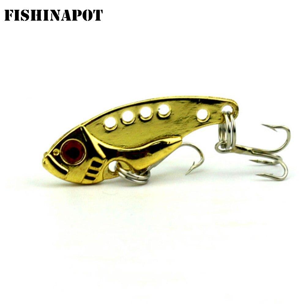 FISHINAPOT 1Pcs 3.5cm 3.5g Metal VIB Spoon Mini Fishing Lure Wobbler Crankbait With 2 Treble Hooks VIB Bait Bass Pike Lure