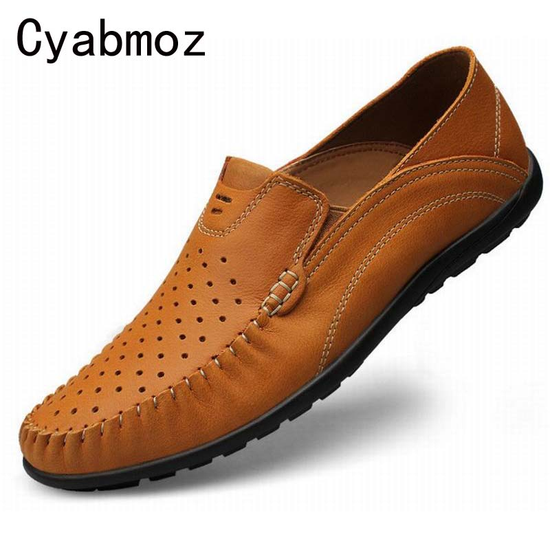 Summer Causal Shoes Men Loafers high quality Genuine Leather Slip On Moccasins Men Handmade Driving Shoes Flats Zapatos Hombre spring high quality genuine leather dress shoes fashion men loafers slip on breathable driving shoes casual moccasins boat shoes