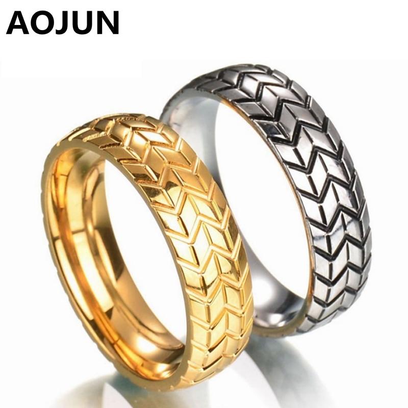 aojun 2017 new 6mm mens tire grooved ring stainless steel for men wedding rings punk rock biker vintage jewelry dropship - Tire Wedding Rings