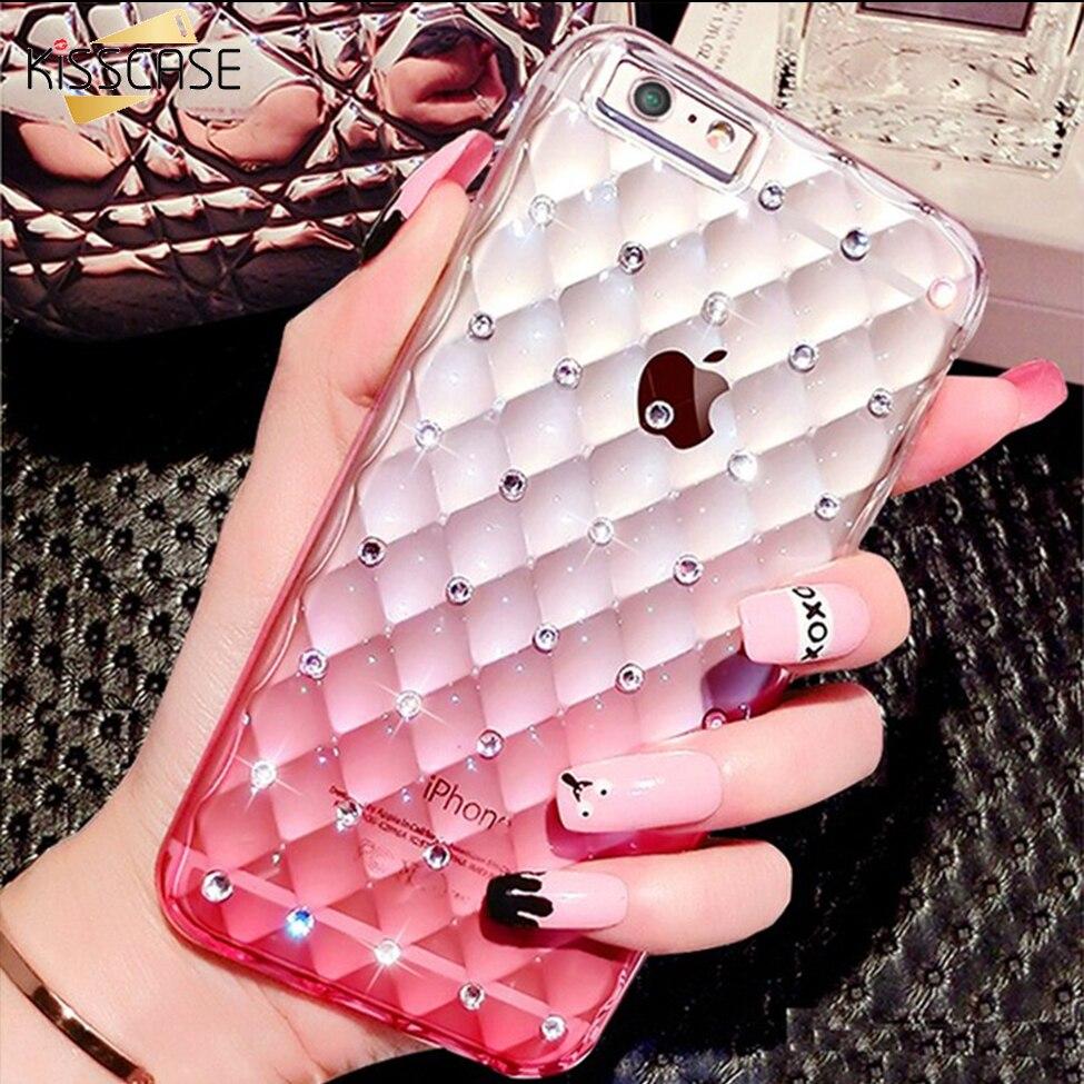 Galleria fotografica KISSCASE Gradient Couleur TPU Cas de Téléphone Mobile Pour iPhone 6 4.7 6 S Full Body Glitter Diamant Effacer <font><b>Cover</b></font> Pour iPhone 6 6 S Plus 5.5