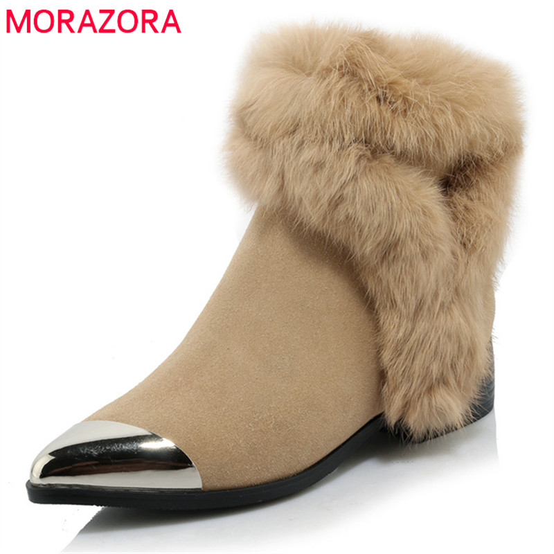MORAZORA 2018 new arrival ankle boots for women pointed toe suede leather boots zipper fashion winter snow boots dress shoes new arrival women boots nubuck leather pointed toe winter shoes ankle boots fashion martin boots metal decration chelsea boots