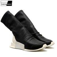 Новый дизайн женские слипоны носок сапоги Готическая платформа увеличивающая рост обувь стрейч из искусственной кожи сапоги до середины и