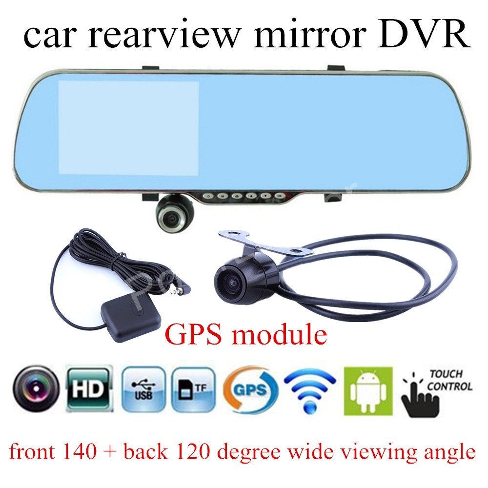 for android WIFI GPS module navigation touch screen 5 Inch Car DVR Camera Rearview Mirror Video Recorder Dual Lens Camcorder HD plusobd best car camera for bmw 5 series e60 e61 rearview mirror camera video recorder automobile car dvr cheapest camcorder