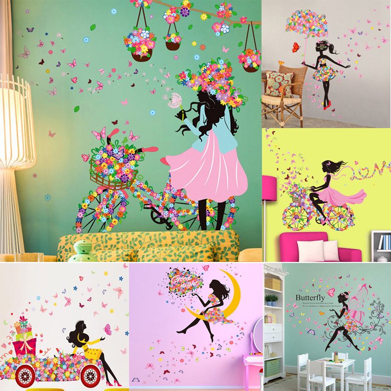 Diy Spring Wall Decor : Creative girl cartoon wall stickers for kids room