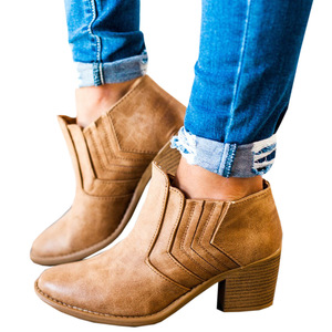 Image 1 - 2020 New Women Ankle Boots Block High Heels Botas Zapatos Mujer Retro Leather Winter Shoes Woman Plus Size Booties Cowboy Boots
