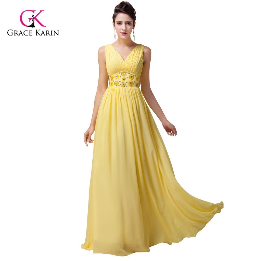 Grace Karin Plus Size V Neck Beadings Long Yellow Prom Dresses