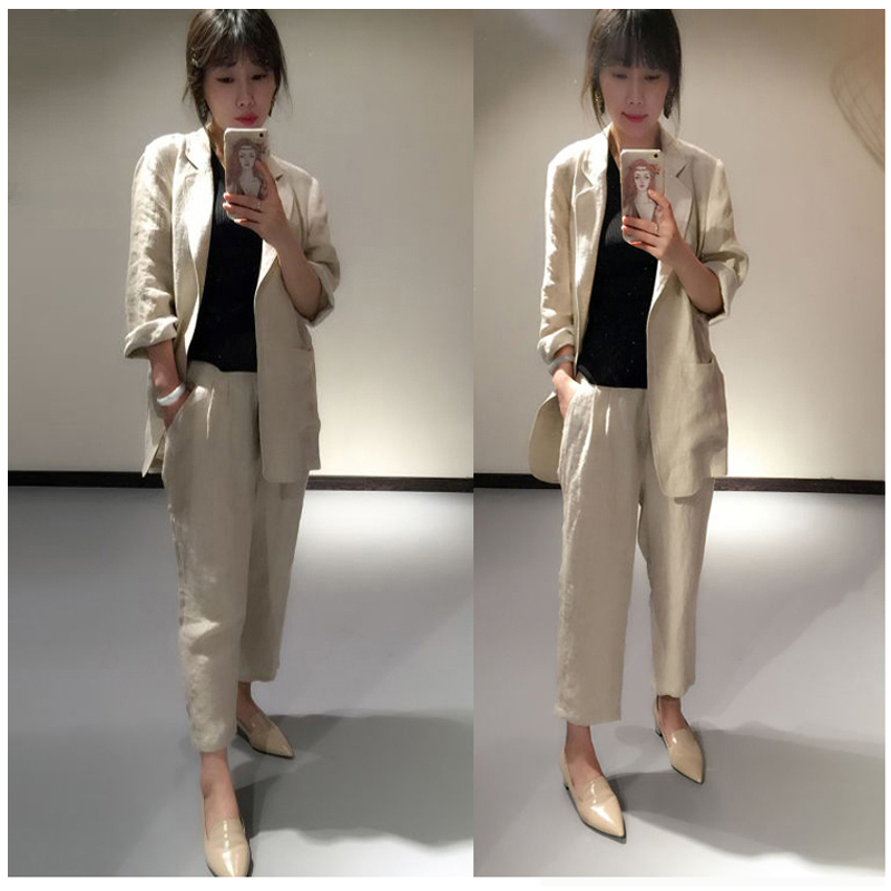 Set Women's Wild Linen 2 Sets Of Summer New Fashion Casual Slimming Cotton Small Suit Nine Pants Suit Female Two-piece