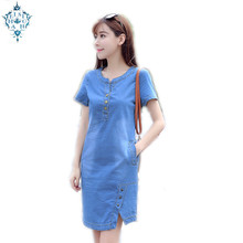 Ameision 2019 New Summer women Casual Jeans Dress With button Pocket V-neck short sleeve slim Sexy Denim Mini Dress Plus size casual round neck short sleeve plus size denim dress for women