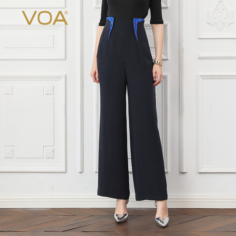 VOA Heavy Silk High Waist Office Ladies Pants Women Wide Leg Pants Autumn Long Trousers Navy Blue Basic Formal Casual K766
