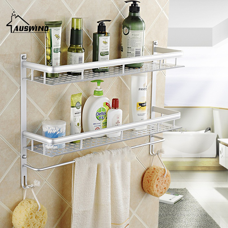 Aluminum Silver Wall Mount 2 Layers Bathroom Storage Basket Shower Room Bathroom Towel Rack Bathroom Shelves Wall Mounted