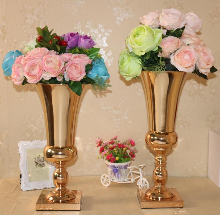 Vases à fleurs en métal pour décorations de fleurs de mariage nouveauté avec un design élégant couleur or Rose/argent SN1958