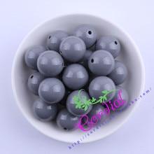 S3 Envío Libre 20 MM 100 unids Gris Sólidos Gruesos Beads Gruesos de Colores Para El Kit de Joyería # CDWB-517262