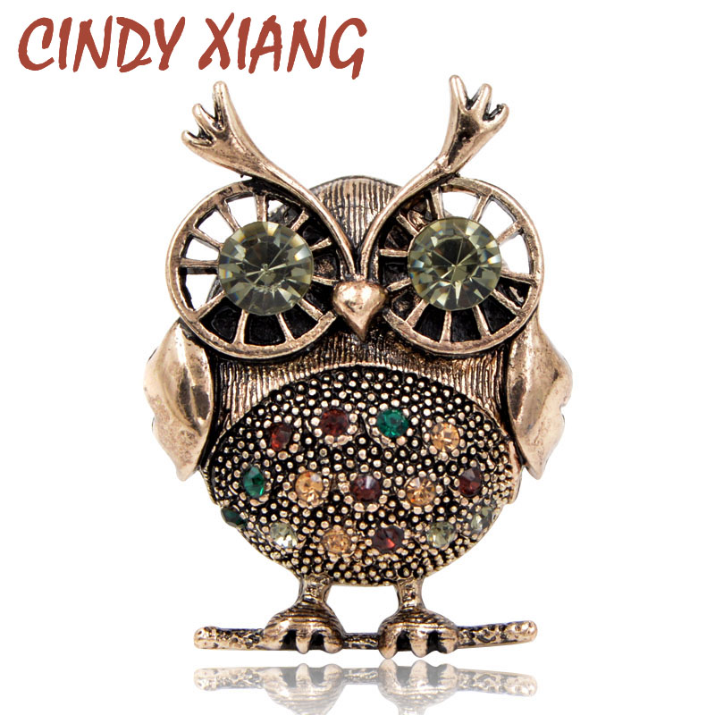 CINDY XIANG 2018 New Rhinestone Owl Brooches For Women Vintage Fashion Animal Brooch Pin Kids Gift Small Jewelry High Quality
