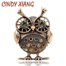 CINDY XIANG 2018 New Rhinestone Owl Brooches for Women Vintage Fashion Animal Brooch Pin Kids Gift Small Jewelry High Quality(China)