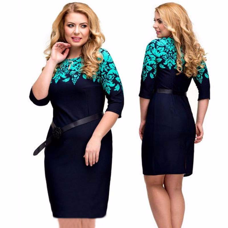 Wonderful Large Size Sexy Women Lace Print Midi Pencil Bodycon Sheath Dress Big