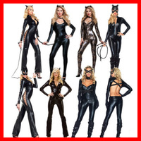 Hot Selling Sexy Women PVC Latex Bodysuits Jumpsuit Catwoman Shiny Super Hero Animal Faux Leather Catsuit