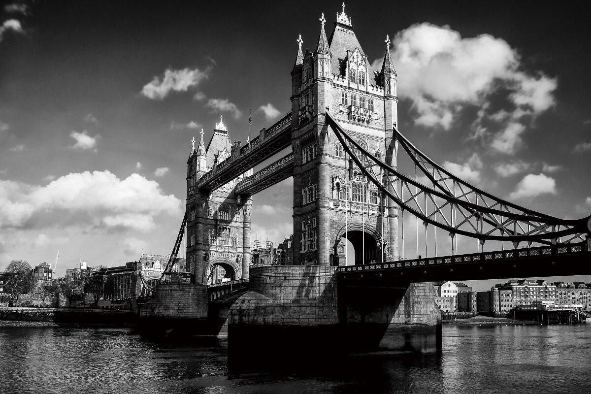Londres pont style noir et blanc monochrome photographie KB437 salon ...