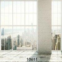 Modern House Brick Pillar Wooden Floor Thin Vinyl Photo Background Children Photography Backdrop Studio 5x7ft