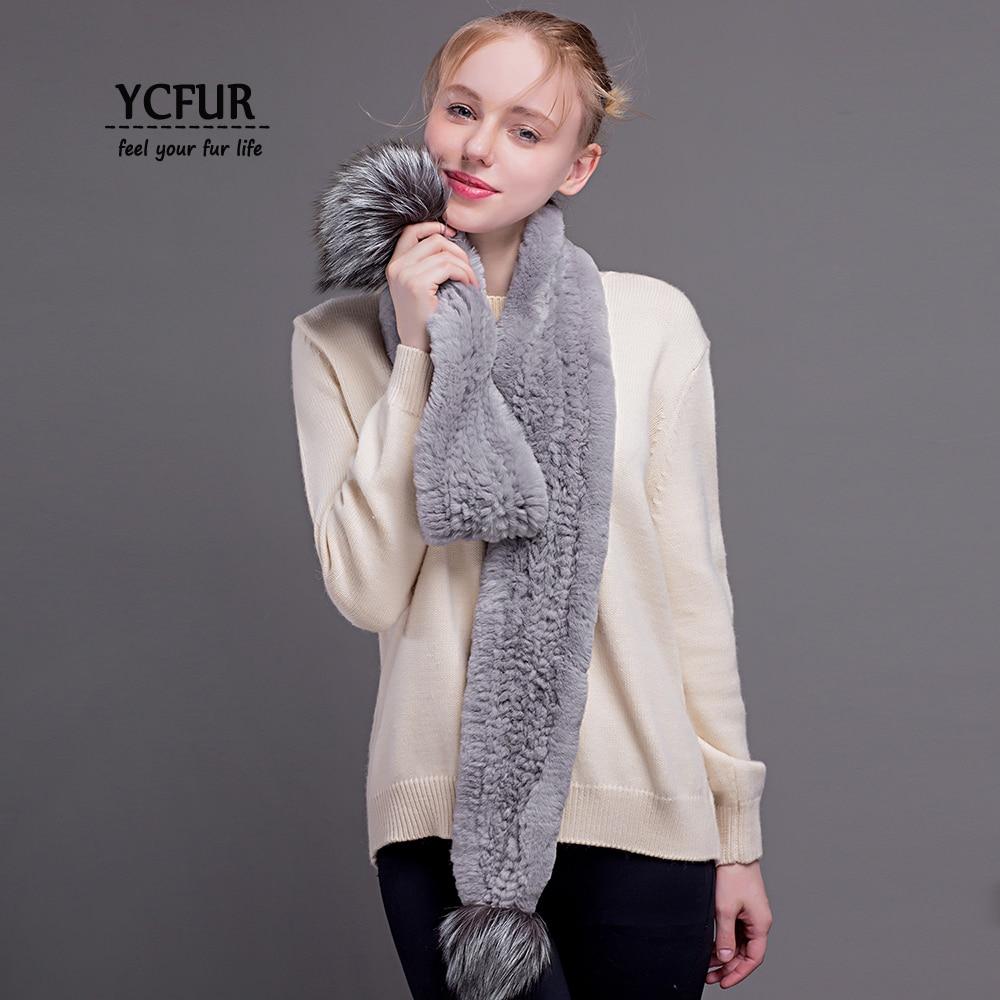 YCFUR Women's   Scarves     Wraps   Winter Handmade Knit Rex Rabbit Fur Long   Scarf   with 2 Silver Fox Fur Poms   Scarves   Shawls for Girls