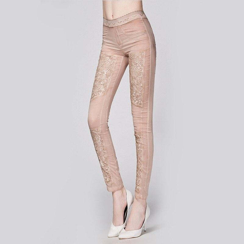 Style Kaki argent De Patchwork Mode Élastique Dentelle 2 Femmes Pantalon Europe 95 Taille Amérique Du Couleurs Crayon Maigre Poches Soie En 2018 Et q1wBSnxFH